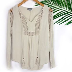 Joseph A Womens Tan Blouse Boho Small